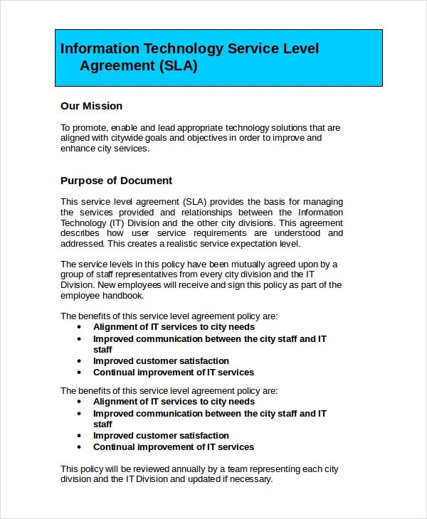 Service Level Agreement - 13+ Free PDF, Word, PSD Documents - service level agreement template