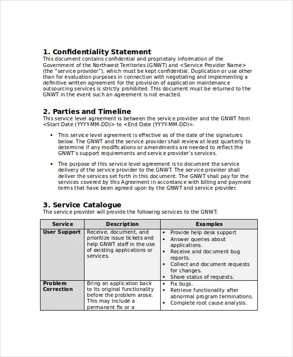Service Level Agreement - 18+ Free PDF, Word, PSD Documents Download - services catalogue examples