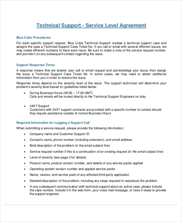 Service Level Agreement - 13+ Free PDF, Word, PSD Documents - business service level agreement