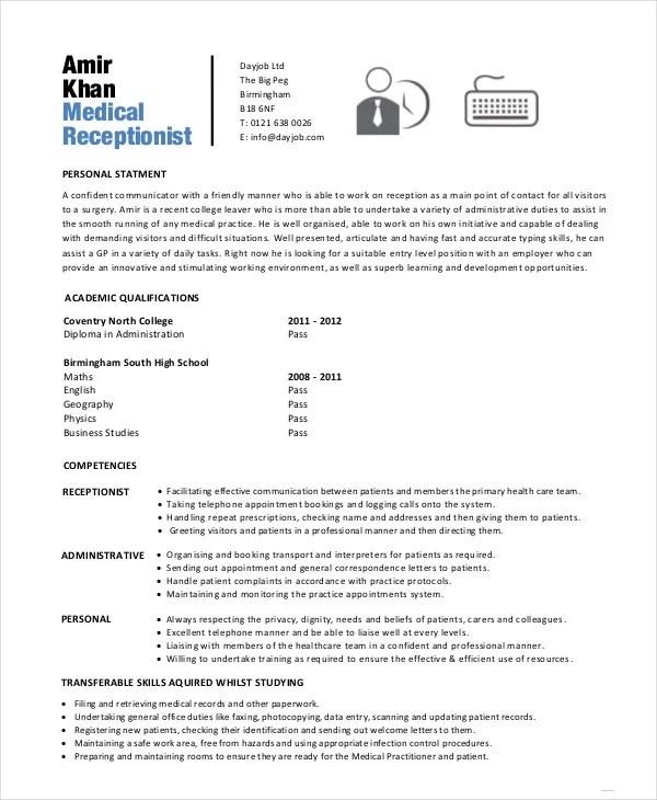 10+ Receptionist Resume Templates - PDF, DOC Free  Premium Templates - resume format for receptionist