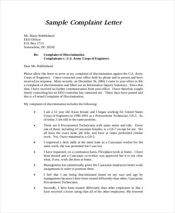 sample discrimination complaint letter