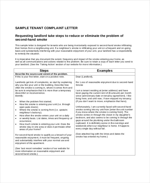 Tenant complaint letter to landlord eczalinf tenant spiritdancerdesigns Image collections