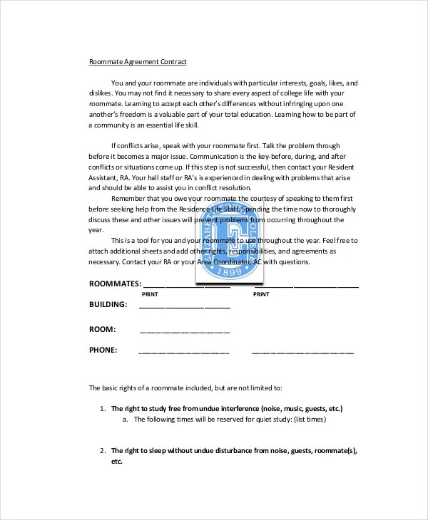 Roommate Agreement - 13+ Free PDF, Word Documents Download Free - roommate agreement