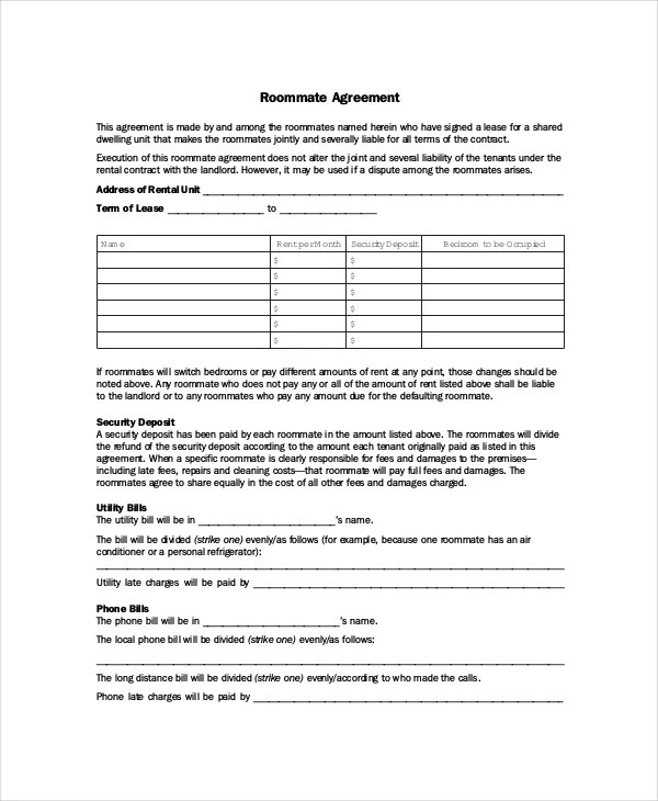 Roommate Agreement - 12+ Free PDF, Word Documents Download Free - roommate agreement form