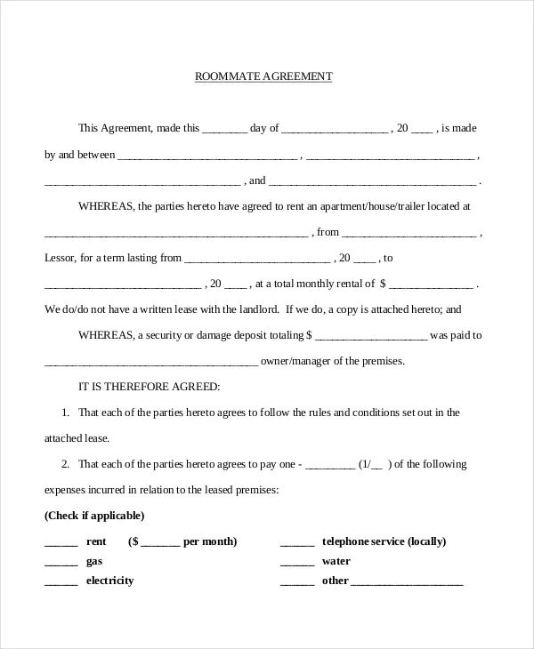 roommate lease agreement