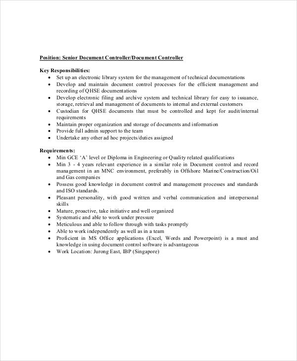 11+ Controller Job Description Templates - PDF, DOCS Free