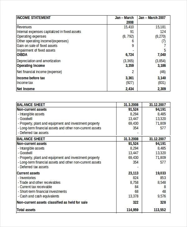 Balance Sheet - 18+ Free Word, Excel, PDF Documents Download Free - balance sheets format
