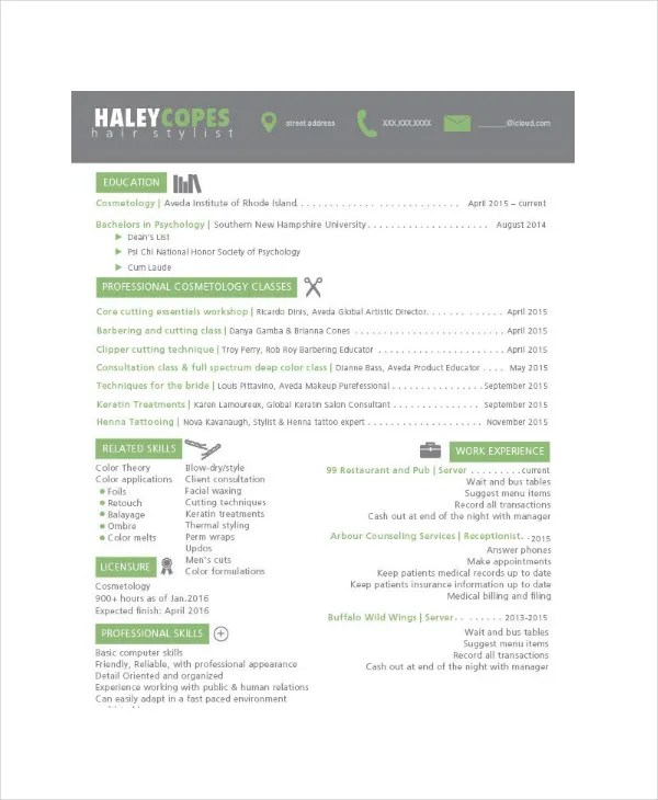 Hair Stylist Resume Example - 6+ Free PDF, PSD Documents Download - Hairstylist Resume Examples