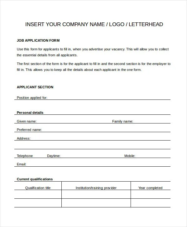 printable generic job application form - Boatjeremyeaton - printable application