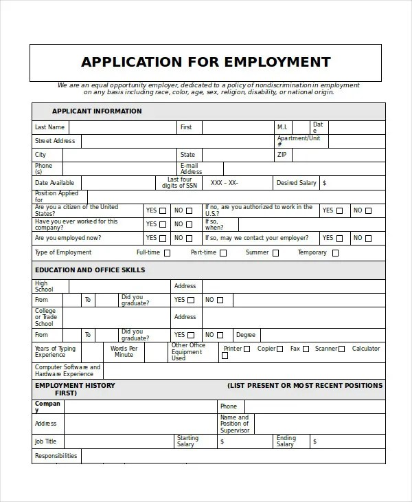 general job application template - Ozilalmanoof - Generic Application For Employment