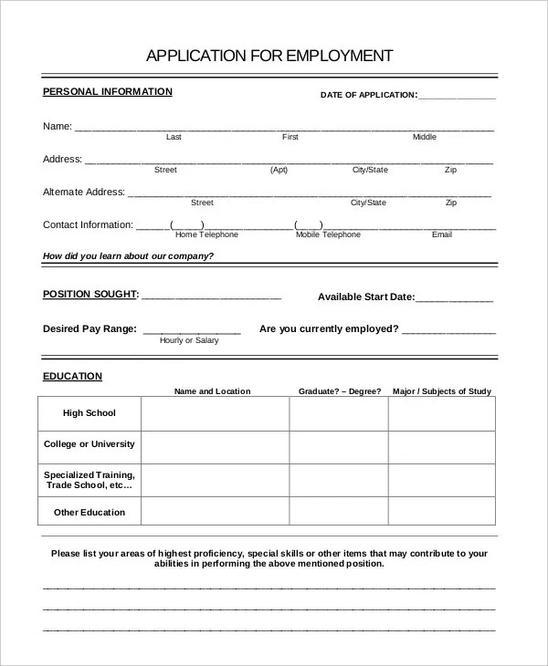 generic job application template - Ozilalmanoof - Generic Application For Employment
