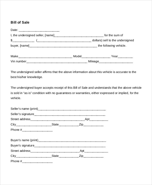Auto Bill Of Sale - 8+ Free Word, PDF Documents Download Free - bill of sale for car