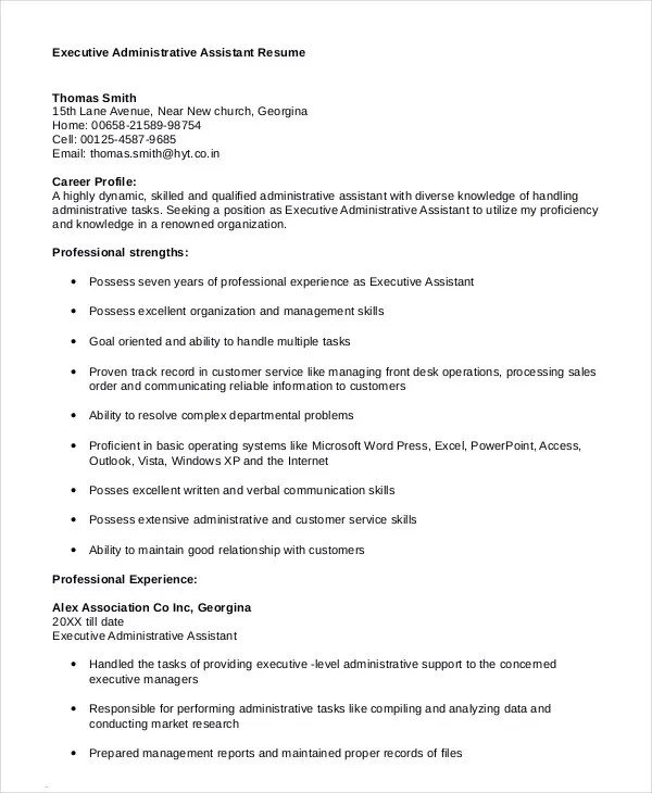 Executive Assistant Resume - 7+ Free WOrd, PDF Documents Download