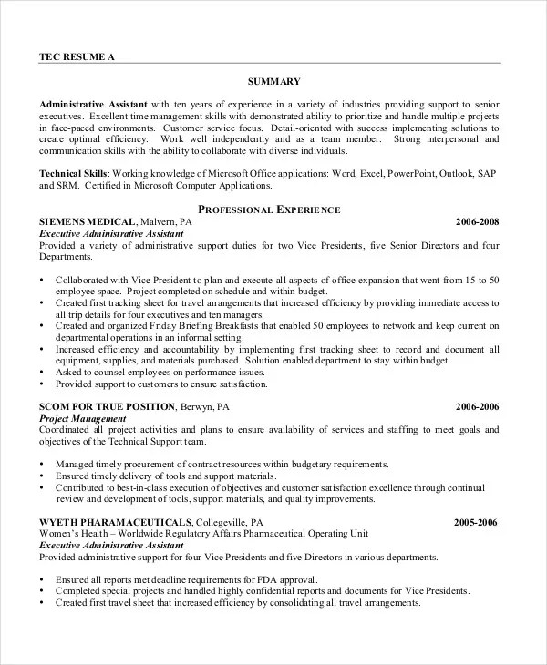 Executive Assistant Resume - 7+ Free WOrd, PDF Documents Download - Project Assistant Resume
