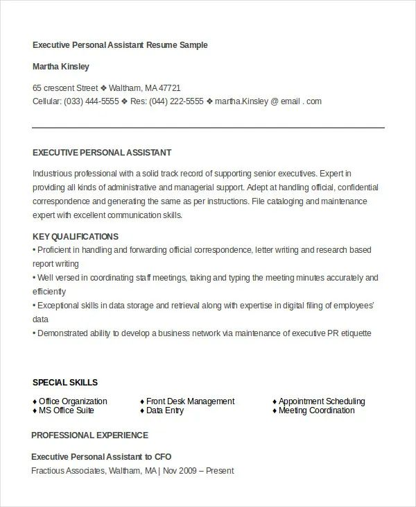 professional executive assistant resume sample