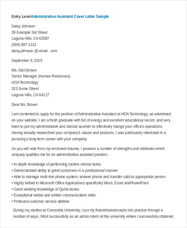 Administrative Assistant Cover Letter - 8+ Free Word, PDF Documents - Sample Administrative Assistant Cover Letter