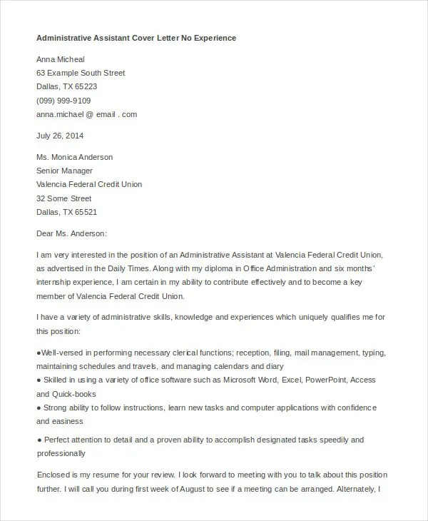 Administrative Assistant Cover Letter - 8+ Free Word, PDF Documents - how to write a business cover letter