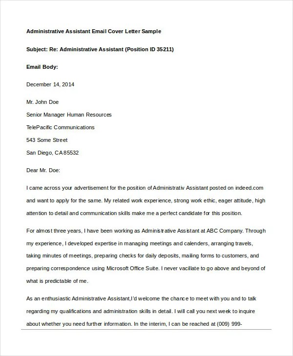 Administrative Assistant Cover Letter - 8+ Free Word, PDF Documents