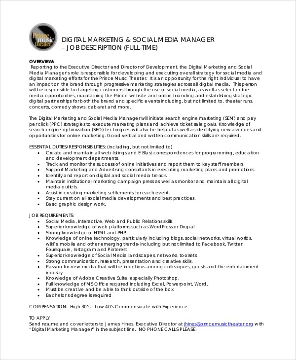 9+ Marketing Manager Job Description - Free Sample, Example, Format - executive director job description