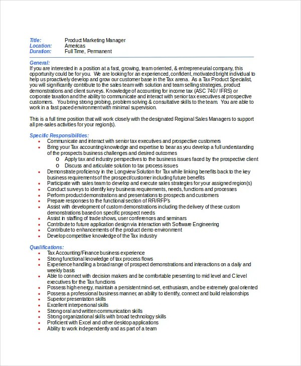 9+ Marketing Manager Job Description - Free Sample, Example, Format
