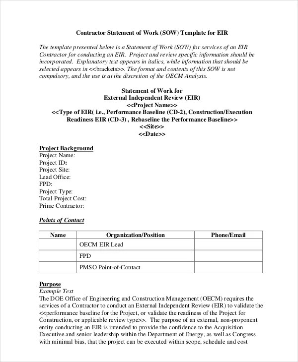 Statement of Work Template - 13+ Free PDF, Word, Excel Documents