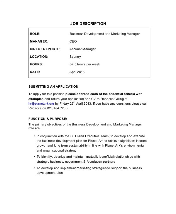 9+ Marketing Manager Job Description - Free Sample, Example, Format - Business Development Manager Job Description