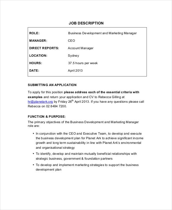 9+ Marketing Manager Job Description - Free Sample, Example, Format
