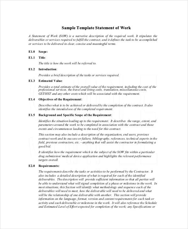 sample statement of work template