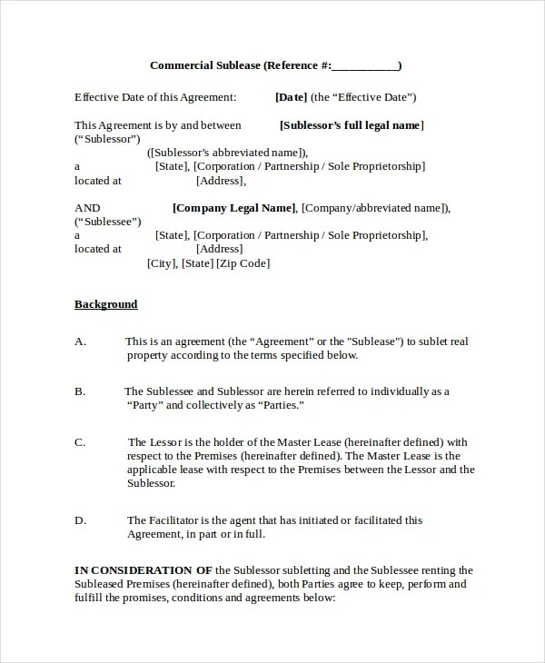 Sublease Agreement - 10+ Free Word, PDF Documents Download Free
