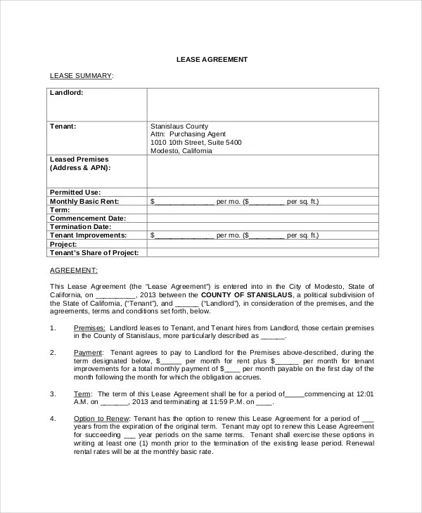 Free Lease Agreement - Free PDF, Word Documents Download Free - free standard lease agreement