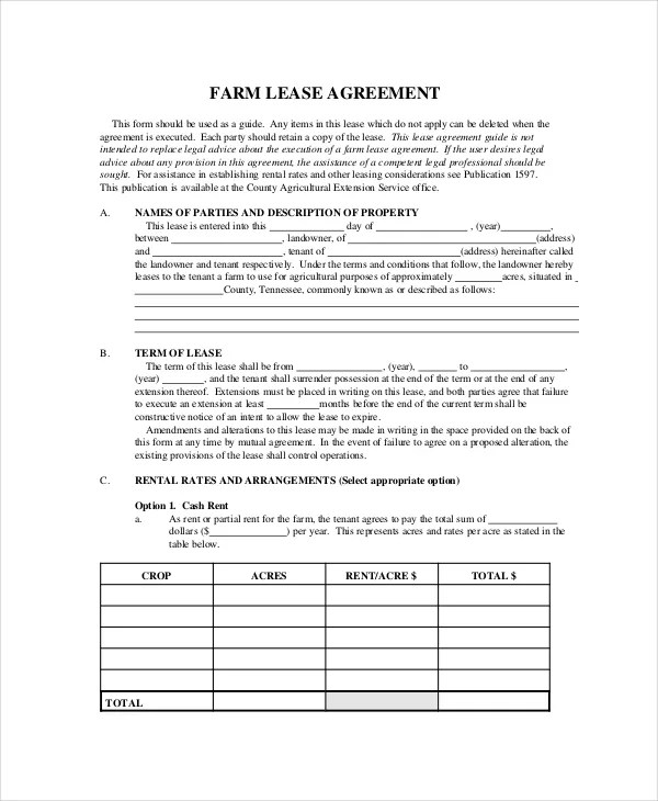 Lease Document Template oakandale - sample land lease agreement