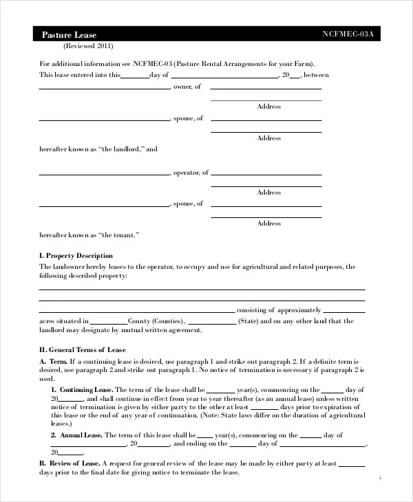 Free Lease Agreement - Free PDF, Word Documents Download Free - Sample Pasture Lease Agreement Template