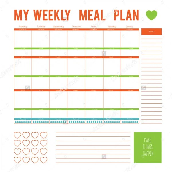 weekly meal calendar template - Muckgreenidesign