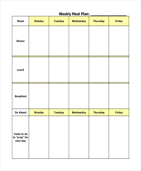 Meal Plan Template - 21+ Free Word, PDF, PSD, Vector Format Download