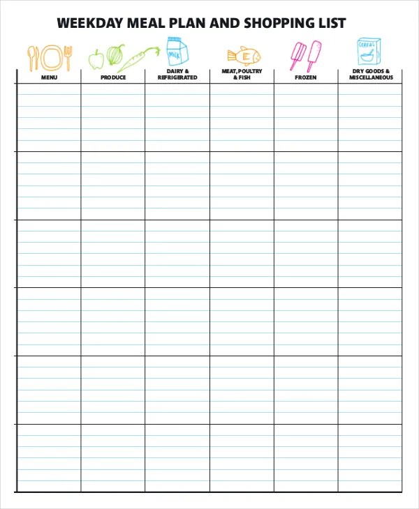 meal planner template word - Onwebioinnovate - meal planning template with grocery list