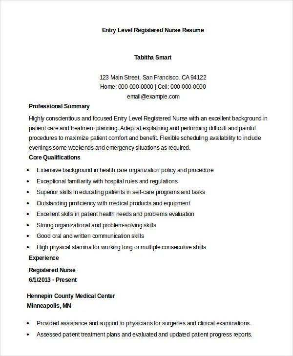 example of entry level rn resume