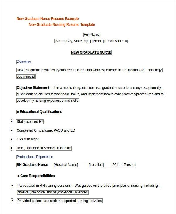 resume objective new graduate nurse