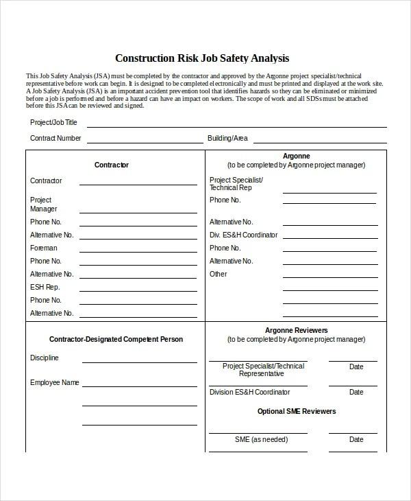 10+ Job Safety Analysis - Free Sample, Example, Format Free - job site analysis template