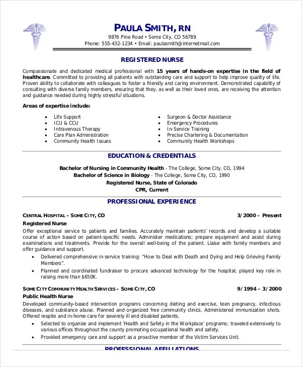 16+ Nurse Resume Templates Free Word, PDF Documents