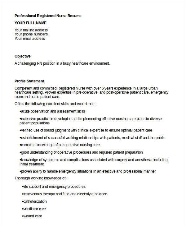 Registered Nurse Resume Example - 7 Free Word, PDF Documents