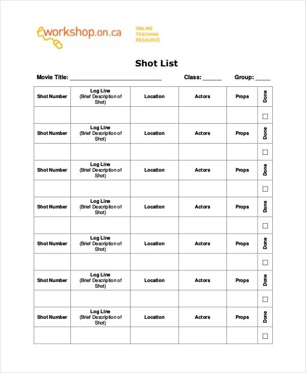A Shot List On Vimeo Shot List Beanstalk A Visual Thread Shot List - list template free