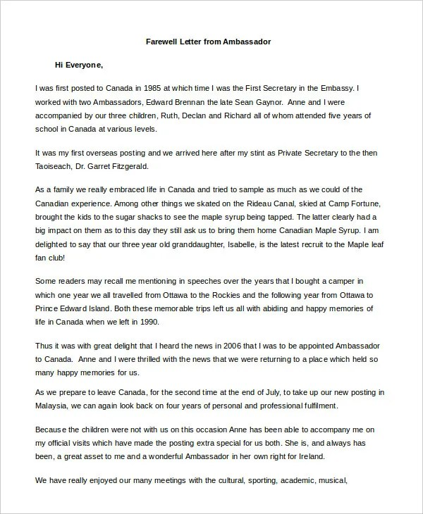 Farewell Letter Printable Farewell Email Template Farewell Email