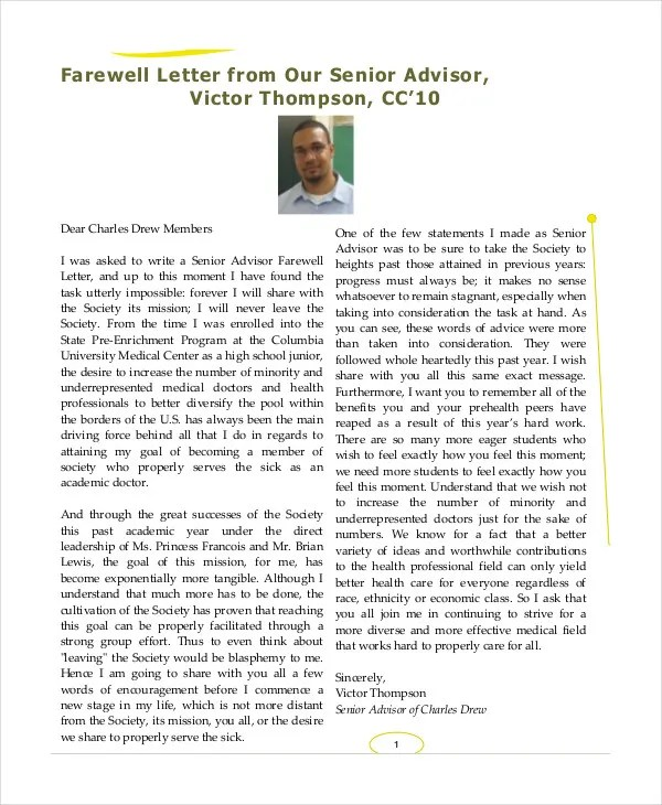 Farewell Letter - 7+ Free Sample, Example, Format Free  Premium
