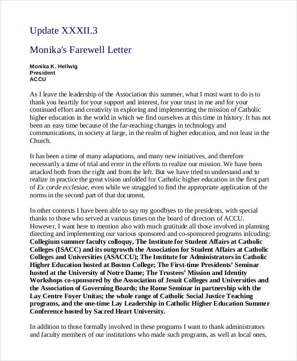 Farewell Letter - 7+ Free Sample, Example, Format Free  Premium - farewell letter