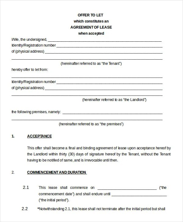 House Lease Agreement Sample House Lease Agreement Form Free