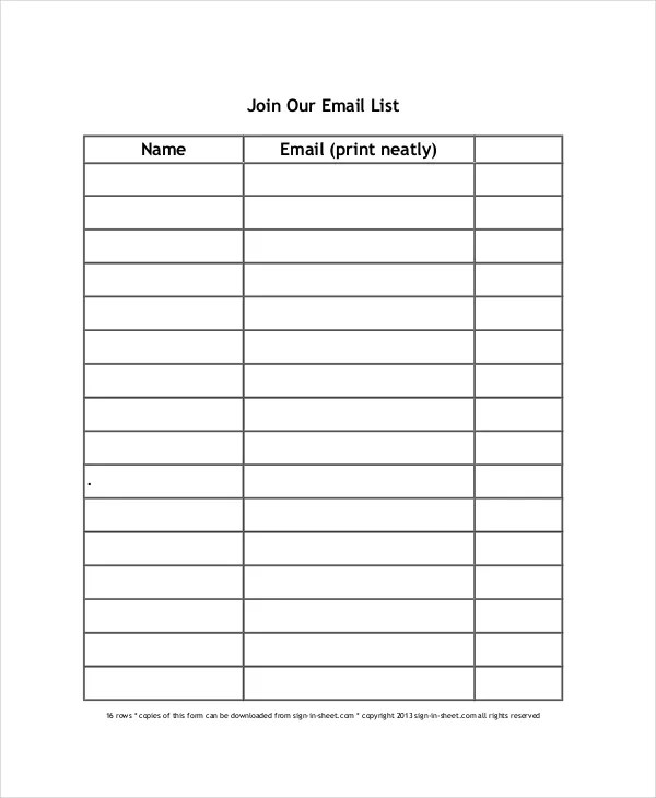 free email sign up sheet template - Ozilalmanoof