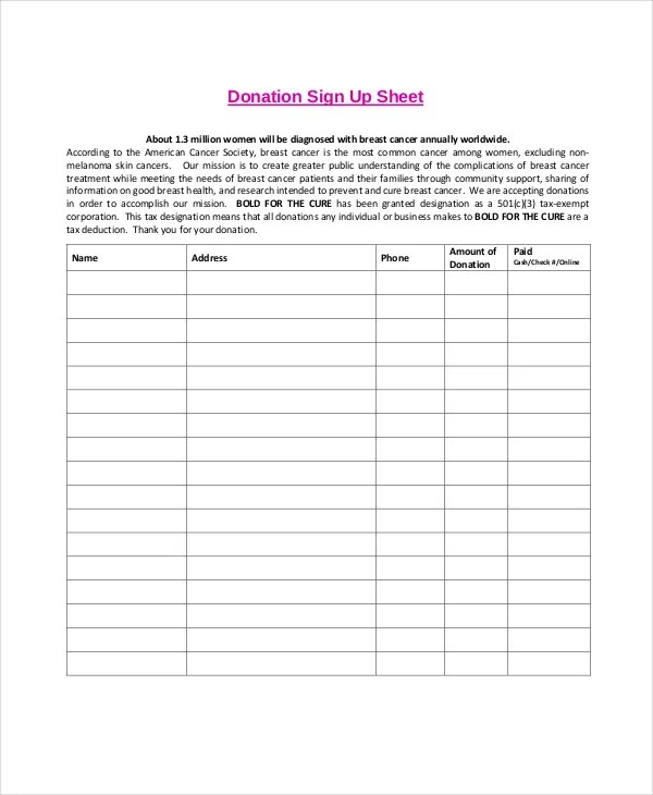 Sign Up Sheet - 11+ Free PDF, Word Documents Download Free - sample sign up sheet
