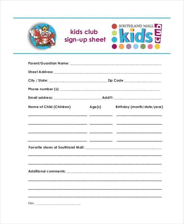 Sign Up Sheet - 16+ Free PDF, Word Documents Download Free - club sign in sheet template