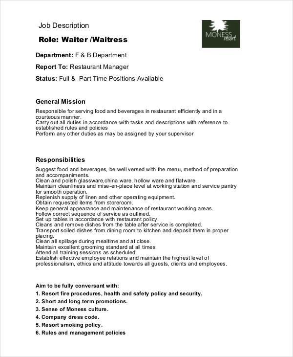 6+ Waitress Job Descriptions - Free Sample, Example, Format Free