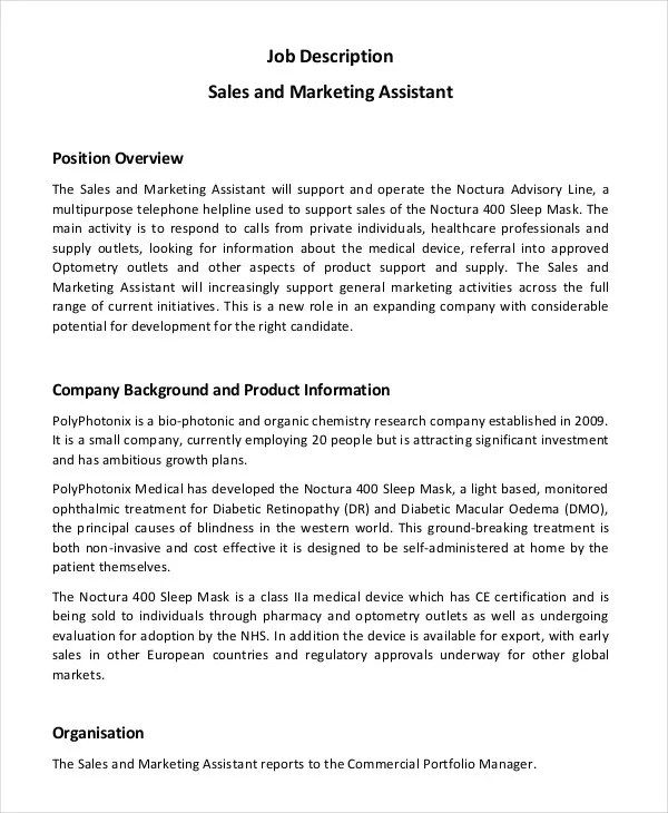 10+ Marketing Assistant Job Description Templates - PDF, DOC Free